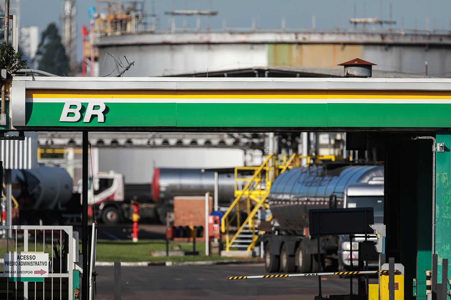The entrance of the Petrobras Alberto Pasqualini Refinery is seen in Canoas, Brazil May 2, 2019. Picture taken May 2, 2019. REUTERS/Diego Vara